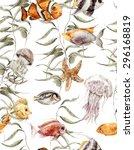 Shabby Watercolor Sea Life...