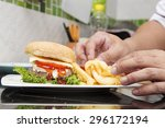 chef decorated hamburger and... | Shutterstock . vector #296172194