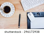 omputer gadget is in the office ... | Shutterstock . vector #296172938