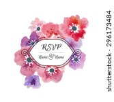 vector card with watercolor... | Shutterstock .eps vector #296173484