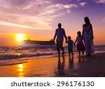 Family Walking Beach Sunset...