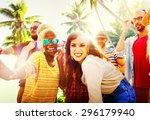 friends summer beach party... | Shutterstock . vector #296179940