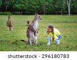 Cute Girl Playing With Kangaro...