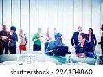 multiethnic group of people... | Shutterstock . vector #296184860