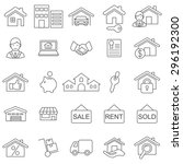 real estate line icons set... | Shutterstock .eps vector #296192300