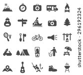 camping black icons set.vector | Shutterstock .eps vector #296192324