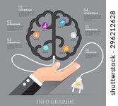 brain chart energy with... | Shutterstock .eps vector #296212628