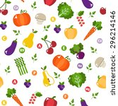 bright vegetable set in flat... | Shutterstock . vector #296214146