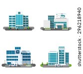 hospital building outdoors... | Shutterstock .eps vector #296218940
