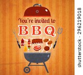 barbecue bbq party invitation... | Shutterstock .eps vector #296219018