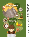 explorer with camping icons... | Shutterstock .eps vector #296220050