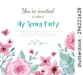 flower wedding invitation card  ... | Shutterstock .eps vector #296221628