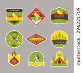 camping label and badge flat... | Shutterstock .eps vector #296221709