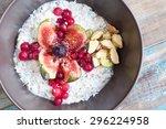 home made bircher style muesli... | Shutterstock . vector #296224958
