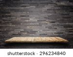 empty top wooden shelves and... | Shutterstock . vector #296234840