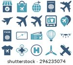 airport icon set. these flat... | Shutterstock .eps vector #296235074
