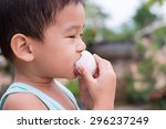 children eat boiled eggs | Shutterstock . vector #296237249