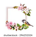 Floral Frame With Flowers And...