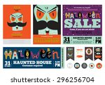 set trick or treat poster cards ... | Shutterstock .eps vector #296256704