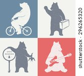 vintage fun illustration bear... | Shutterstock .eps vector #296265320