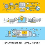 thin line flat design banners... | Shutterstock .eps vector #296275454