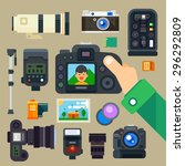 photographer set. digital... | Shutterstock .eps vector #296292809
