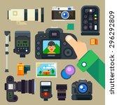 photographer set. digital... | Shutterstock .eps vector #296292809