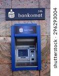 Small photo of WARSAW, POLAND - SATURDAY, JUNE 6, 2015: A cash machine, ATM, for Bank Polski. Powszechna Kasa Oszczednosci Bank Polski Sp���³lka Akcyjna is Poland's largest bank.