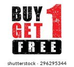 buy 1 get 1 free rubber stamp ... | Shutterstock .eps vector #296295344