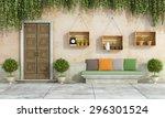 country house with old door... | Shutterstock . vector #296301524