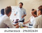 modern businessman explaining... | Shutterstock . vector #296302634