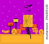 halloween sweet table with... | Shutterstock .eps vector #296305130
