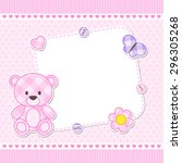 card with pink teddy bear for... | Shutterstock .eps vector #296305268