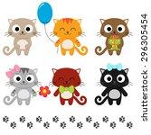 Stock vector stylized set of cute cartoon kittens vector illustration 296305454