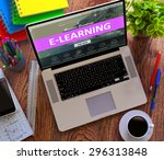 e learning on laptop screen.... | Shutterstock . vector #296313848