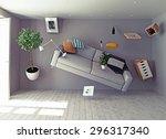 zero gravity interior. 3d... | Shutterstock . vector #296317340