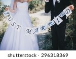 "bride and groom holding ""just... 