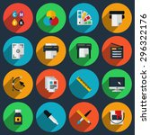 flat color printing icons set.... | Shutterstock .eps vector #296322176