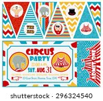 birthday card with circus ticket   Shutterstock .eps vector #296324540