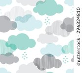 seamless retro clouds and rain... | Shutterstock .eps vector #296324810