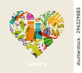 vector color spices and herbs... | Shutterstock .eps vector #296329883