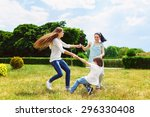 happy mother with daughter and... | Shutterstock . vector #296330408