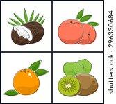 grapefruit  peach kiwifruit ... | Shutterstock .eps vector #296330684