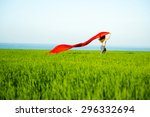 young lady runing with tissue... | Shutterstock . vector #296332694