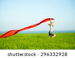 young lady runing with tissue... | Shutterstock . vector #296332928