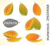 set of papaya fruit in vector... | Shutterstock .eps vector #296334068