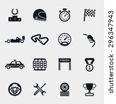 car race icons set. stopwatch... | Shutterstock .eps vector #296347943