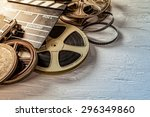film camera chalkboard and roll ... | Shutterstock . vector #296349860