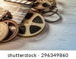 film camera chalkboard and roll ... | Shutterstock . vector #296349860