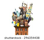 tourist on the roof with... | Shutterstock . vector #296354438